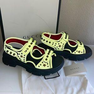 Authentic Gucci yellow aguru reflective sandals 10